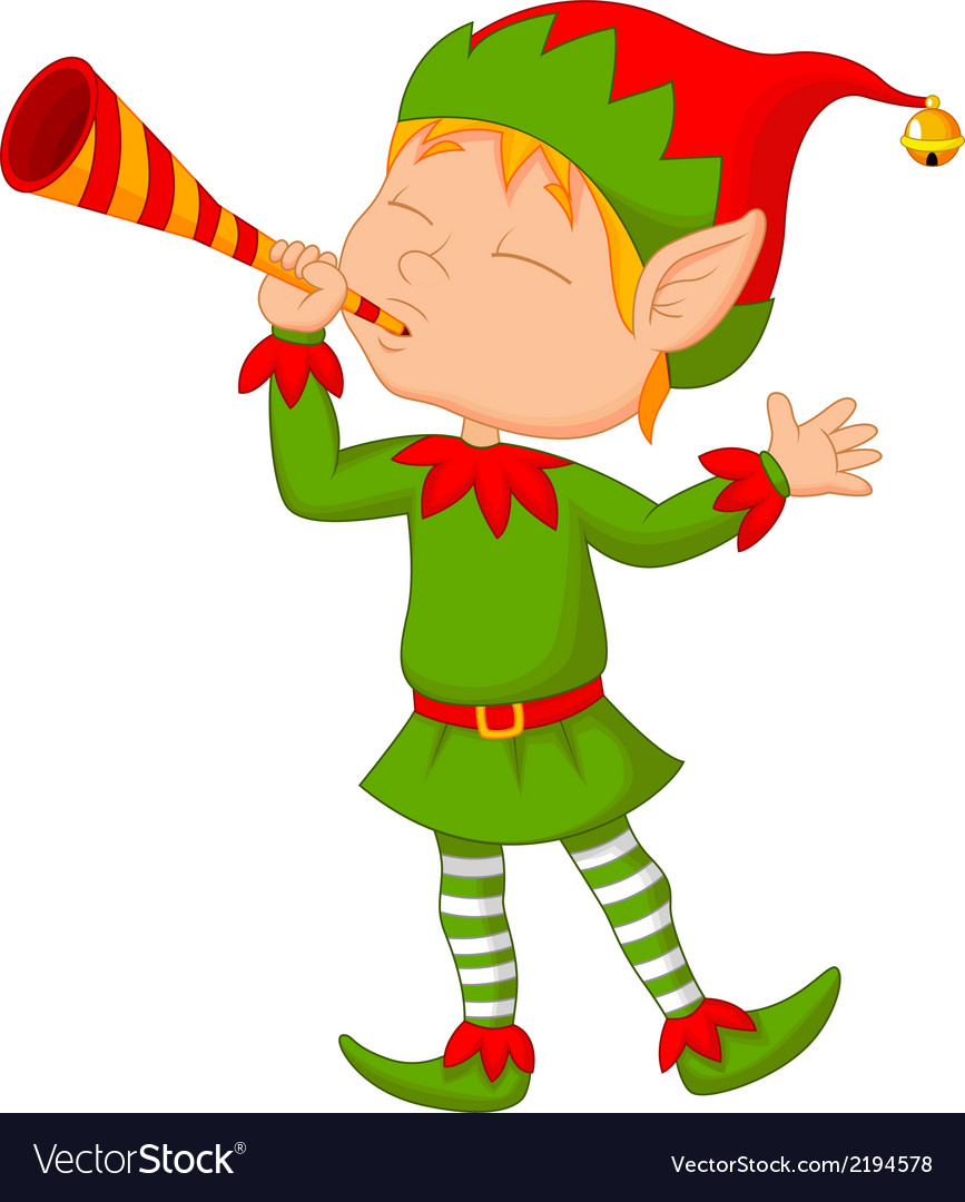 Elf cartoon with trumpet vector | Price: 1 Credit (USD $1)