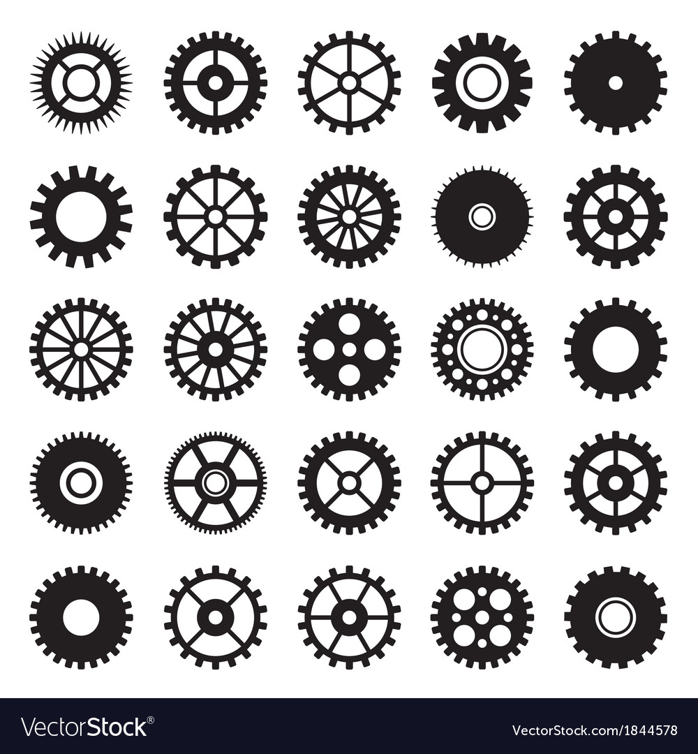 Gear wheel icons set 1 vector | Price: 1 Credit (USD $1)