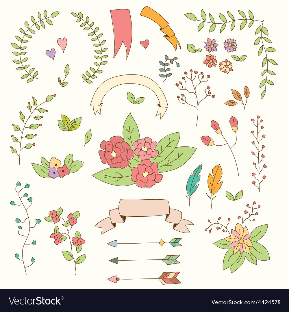 Hand drawn vintage flowers and floral elements vector | Price: 1 Credit (USD $1)
