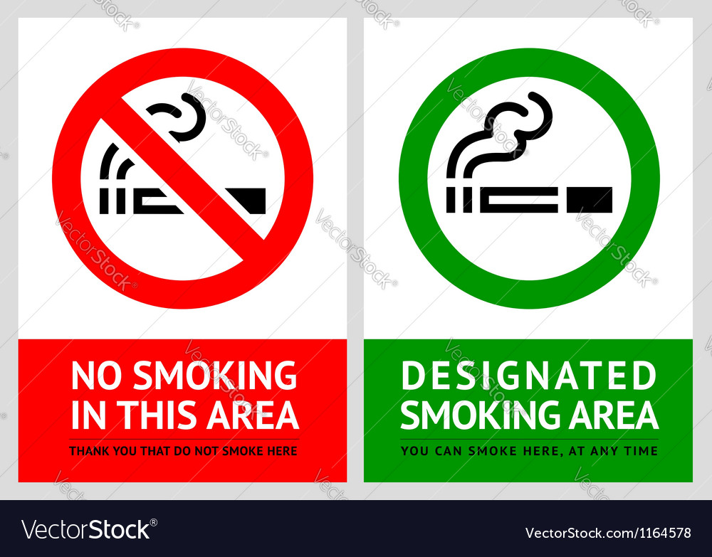 No smoking and smoking area labels - set 9 vector | Price: 1 Credit (USD $1)