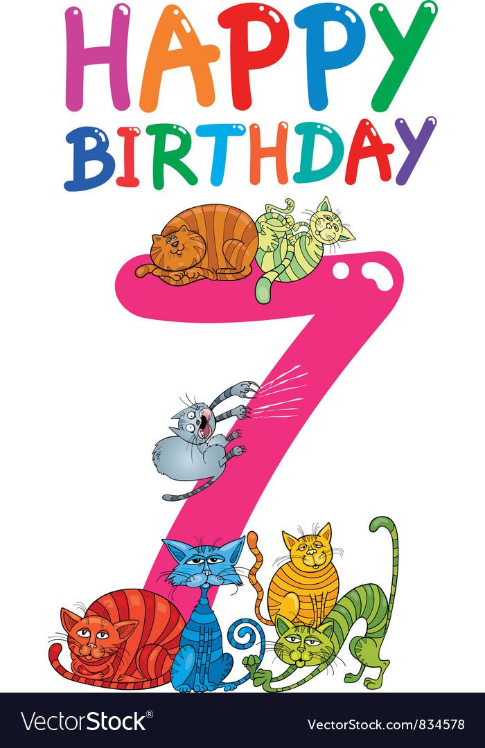 Seventh birthday anniversary card vector   Price: 3 Credit (USD $3)