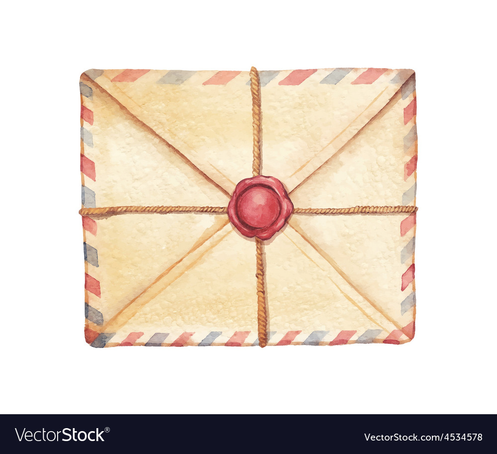 Watercolor envelope vector