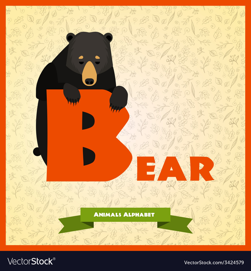B letter with black bear behind vector | Price: 1 Credit (USD $1)