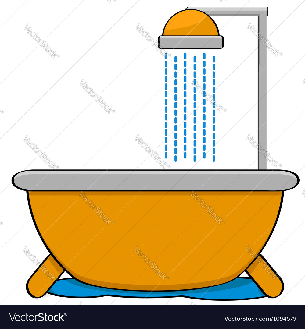 Bathtub with shower vector | Price: 1 Credit (USD $1)