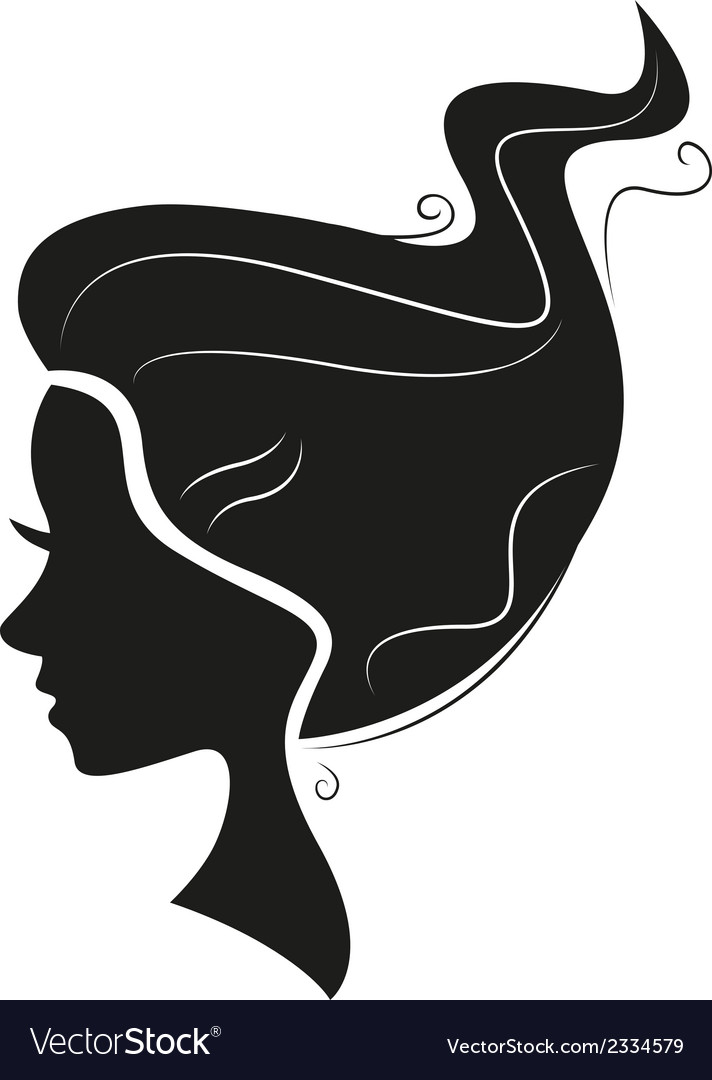 Beautiful black hair silhouette isolated on white vector | Price: 1 Credit (USD $1)