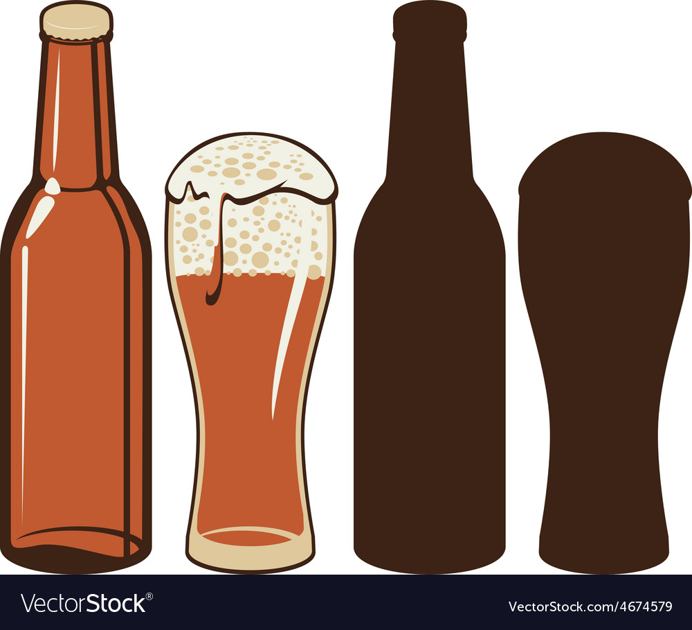 Beer bottle and glas vector | Price: 1 Credit (USD $1)