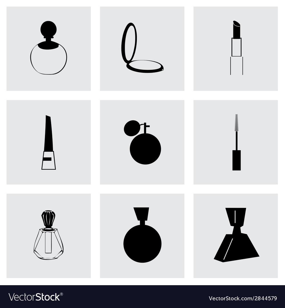 Black cosmetics icons set vector | Price: 1 Credit (USD $1)