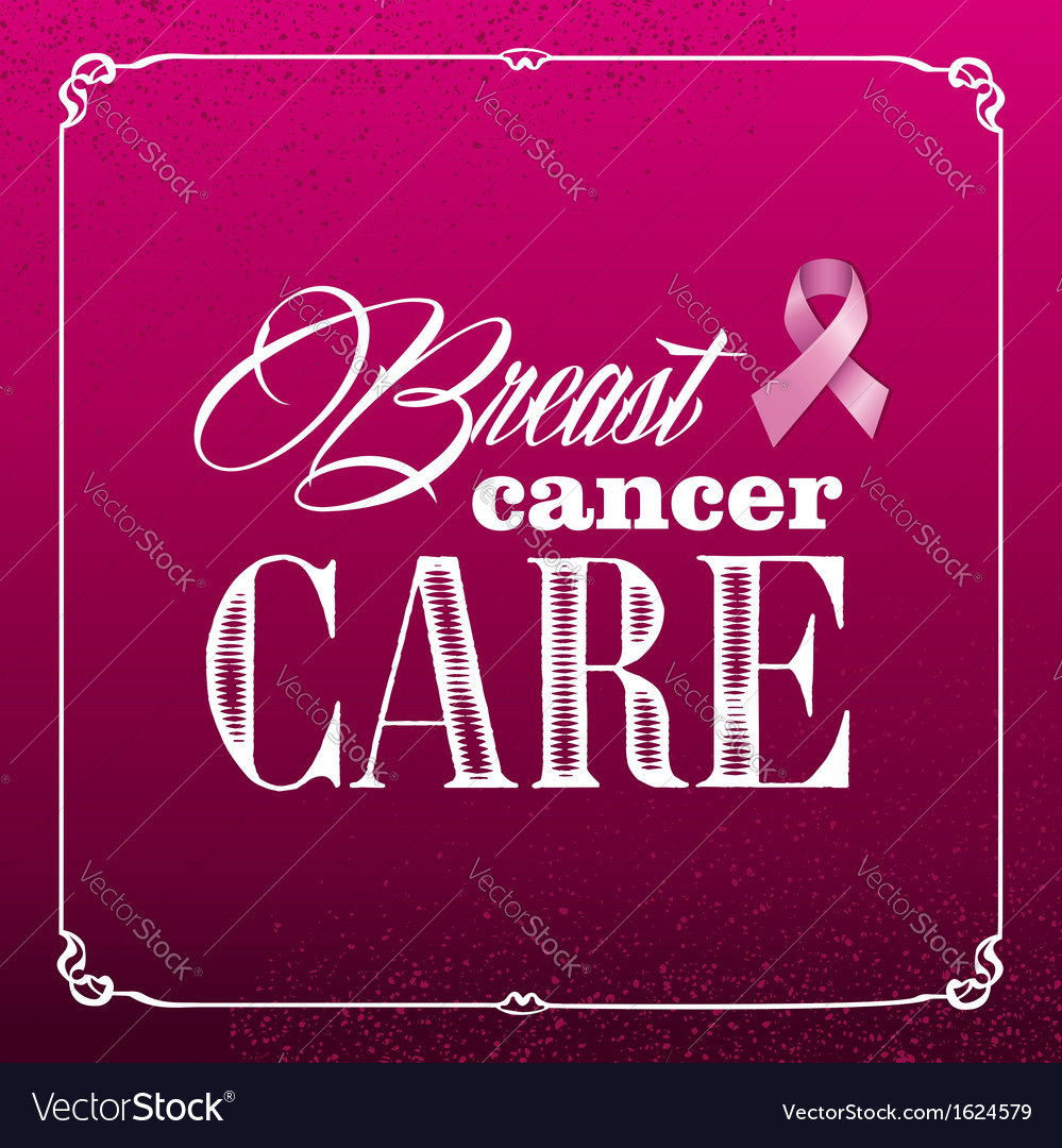 Breast cancer awareness ribbon vintage frame vector | Price: 1 Credit (USD $1)