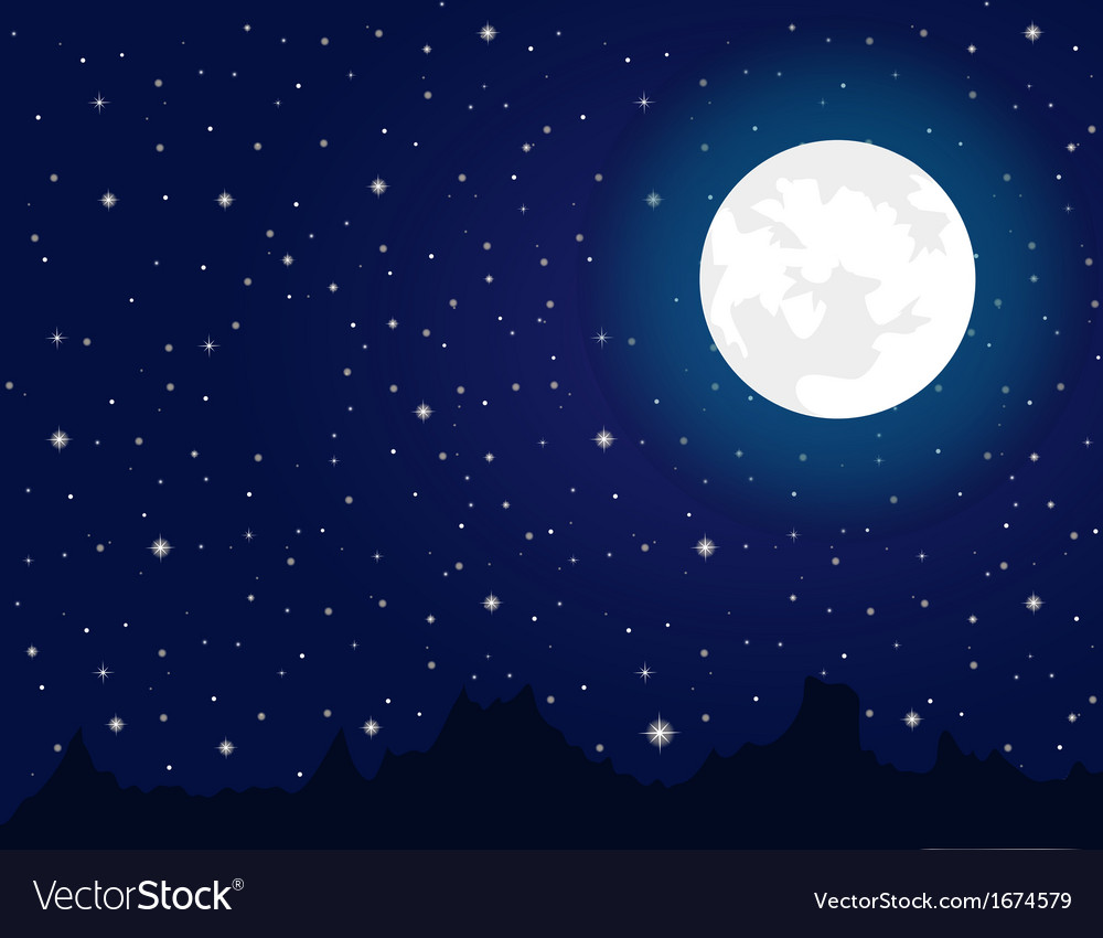 Bright moon and stars during night vector | Price: 1 Credit (USD $1)