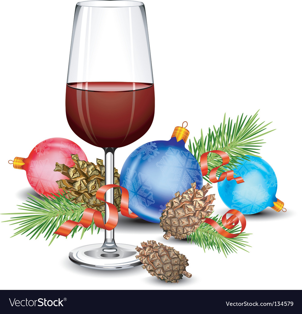 Christmas wine glass vector | Price: 1 Credit (USD $1)