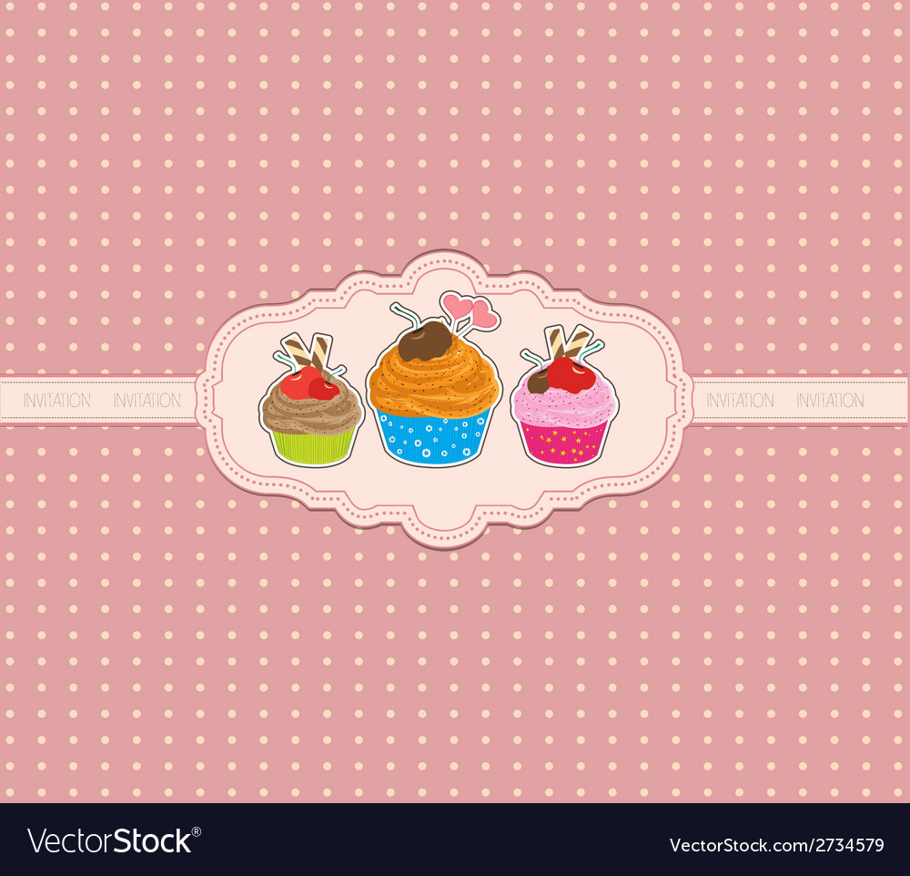 Cupcake background vector | Price: 1 Credit (USD $1)