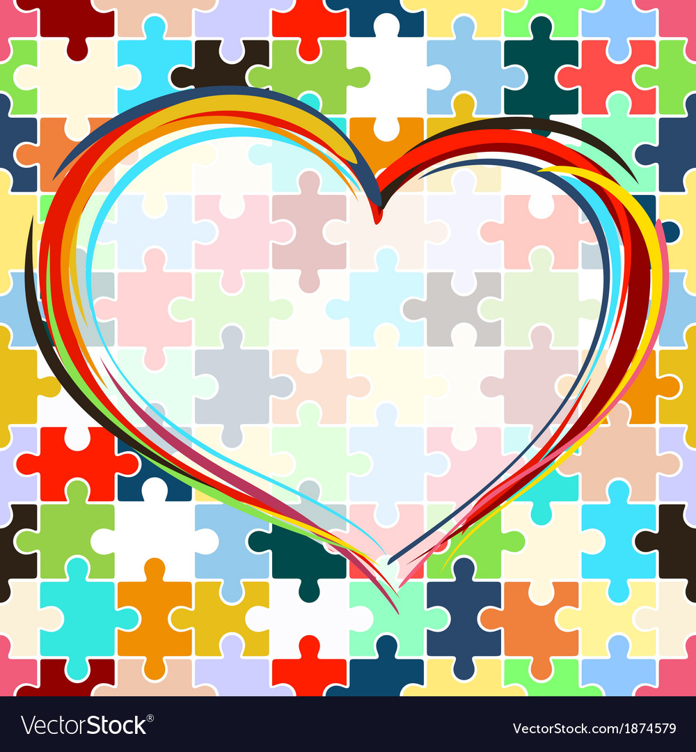 Heart on seamless puzzle background vector | Price: 1 Credit (USD $1)