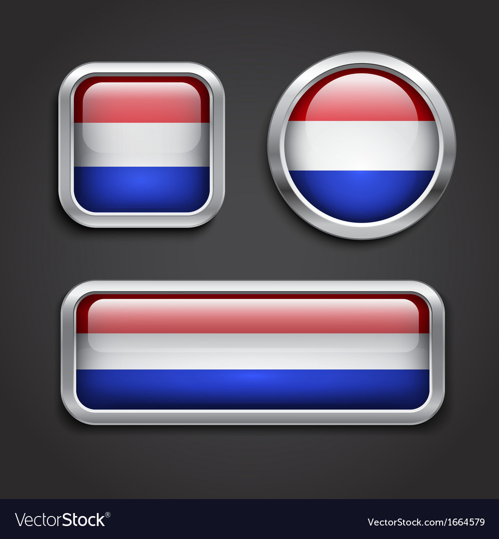 Holland flag glass buttons vector | Price: 1 Credit (USD $1)