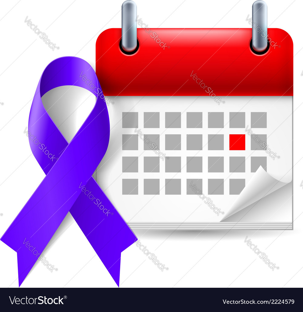 Indigo awareness ribbon and calendar vector | Price: 1 Credit (USD $1)