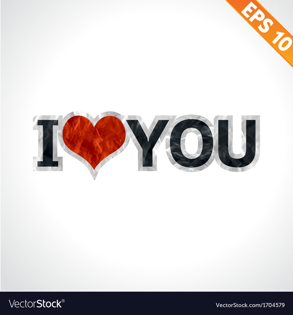 Label i love you paper texture sticker tag - vector | Price: 1 Credit (USD $1)