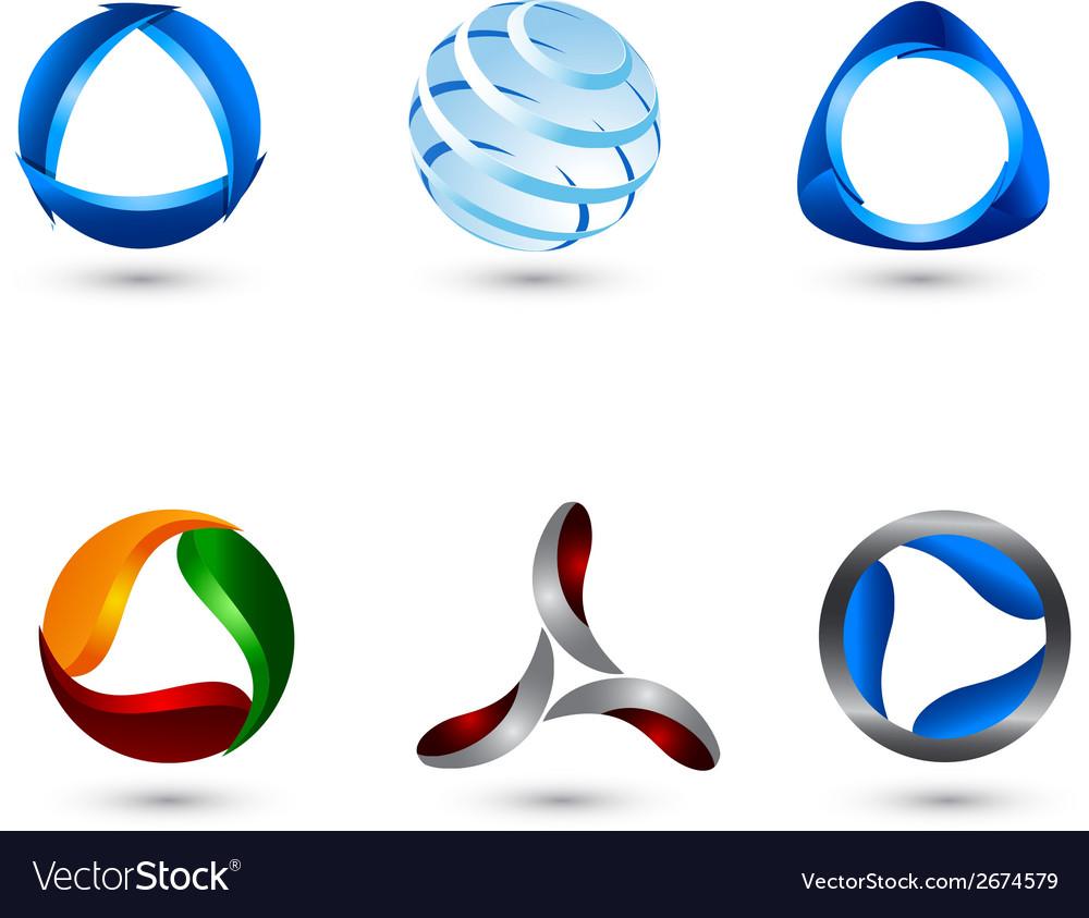 Logo shape set 3d style vector | Price: 1 Credit (USD $1)