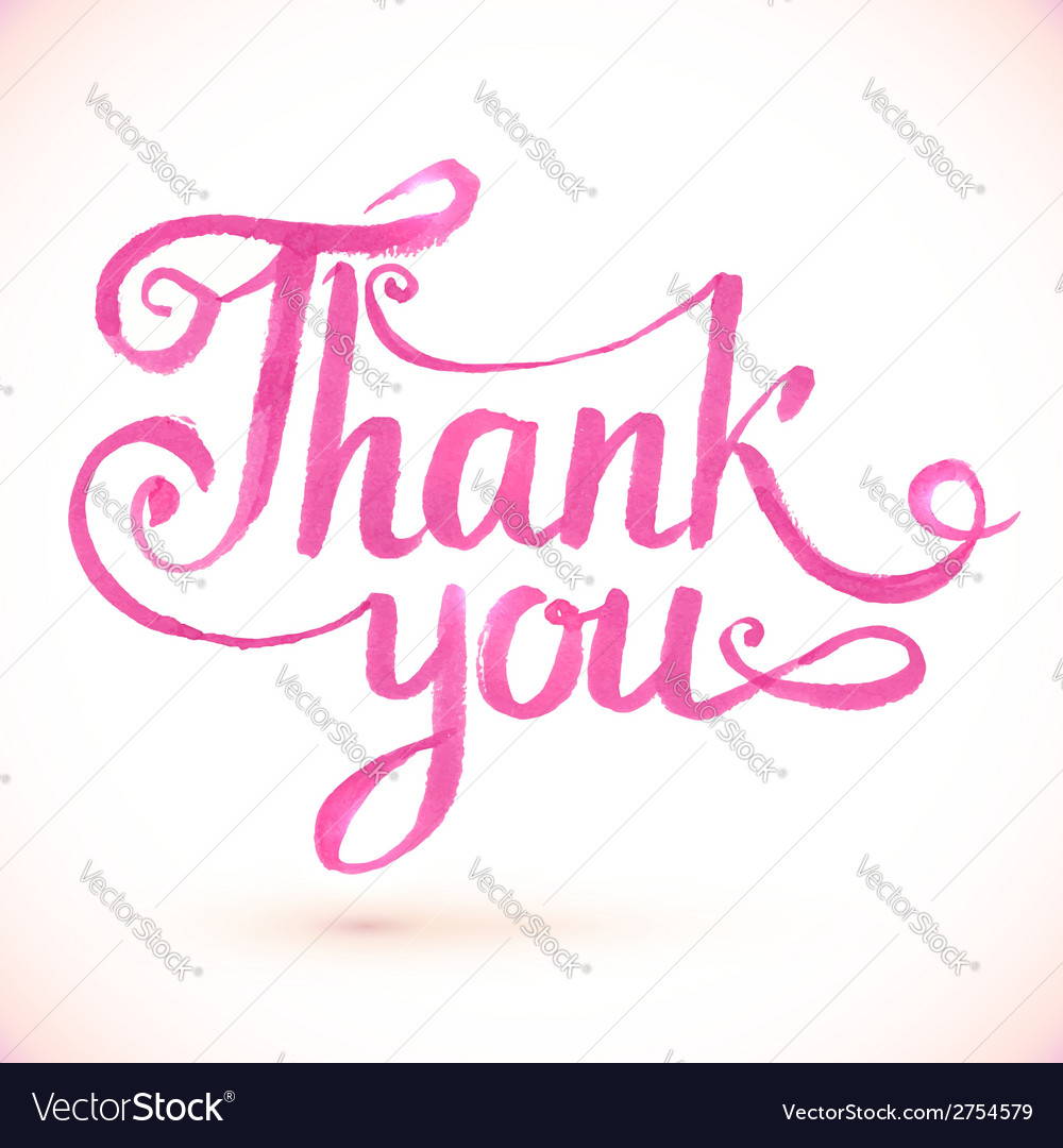 Pink thank you hand-drawn sign vector | Price: 1 Credit (USD $1)