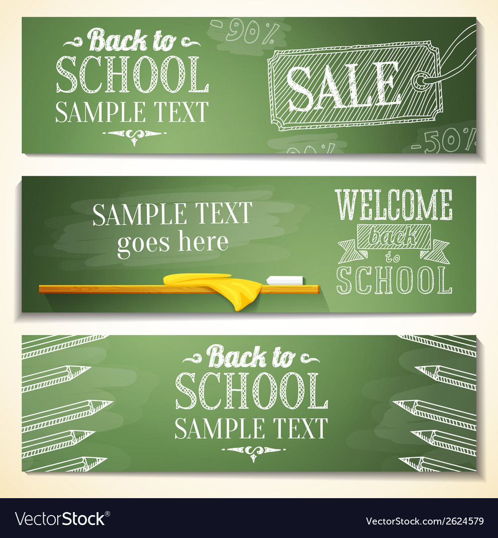Set of school banners with sample text place for vector | Price: 1 Credit (USD $1)