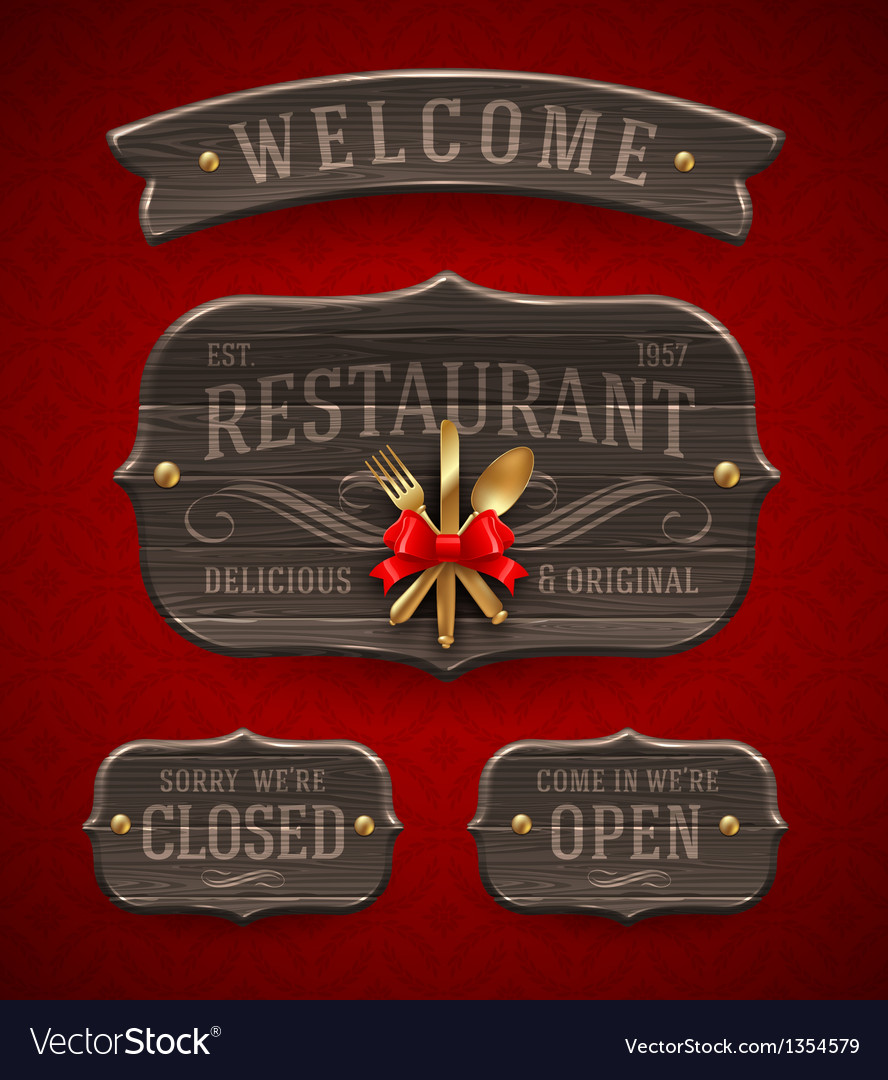 Set of vintage wooden restaurant signs vector