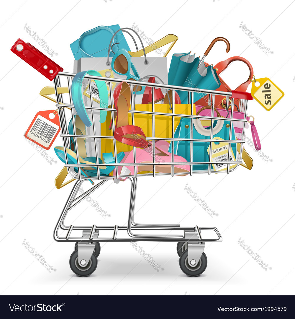 Trolley with purchase vector | Price: 1 Credit (USD $1)