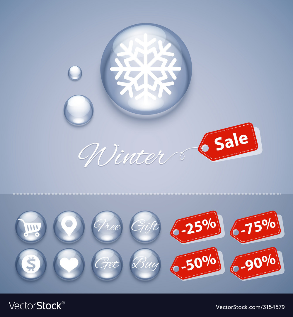 Winter sale glossy buttons templates vector | Price: 1 Credit (USD $1)