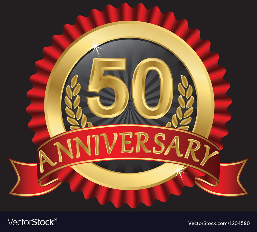 50 years anniversary golden label with ribbon vector | Price: 3 Credit (USD $3)