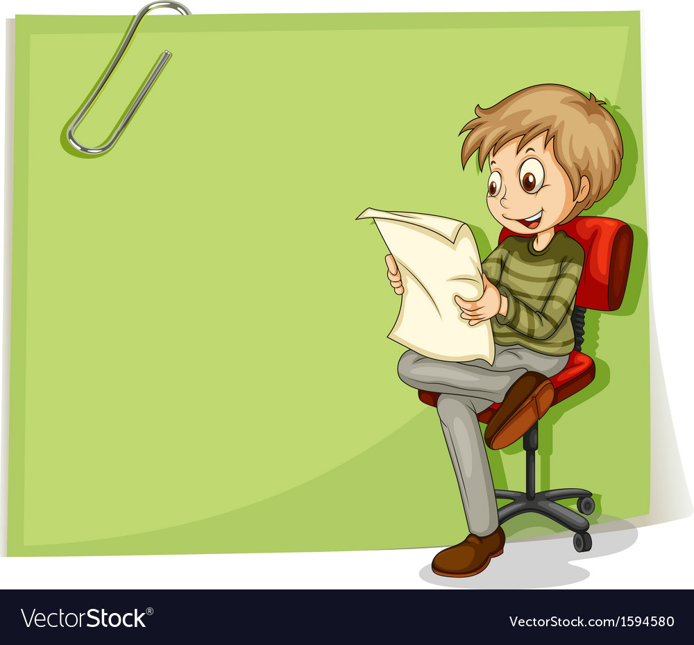 A boy reading in front of a big paper with a clip vector | Price: 1 Credit (USD $1)