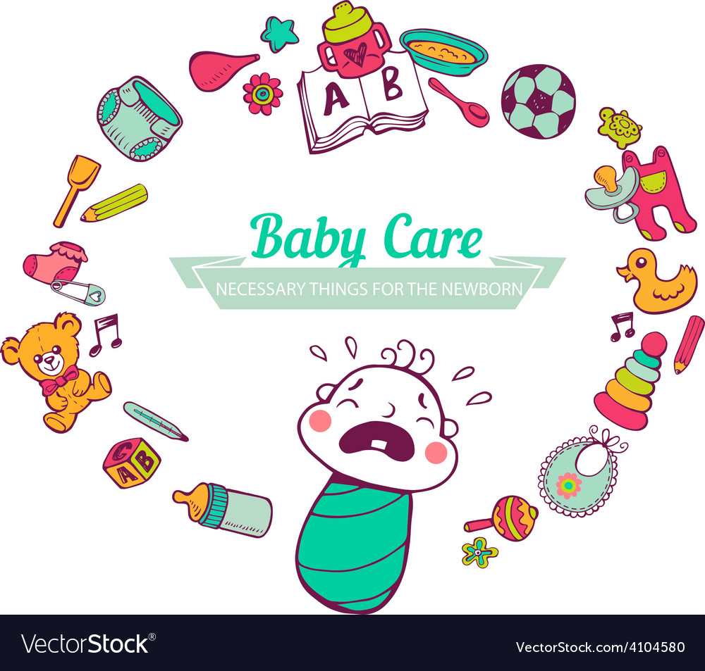 Baby care frame vector   Price: 1 Credit (USD $1)