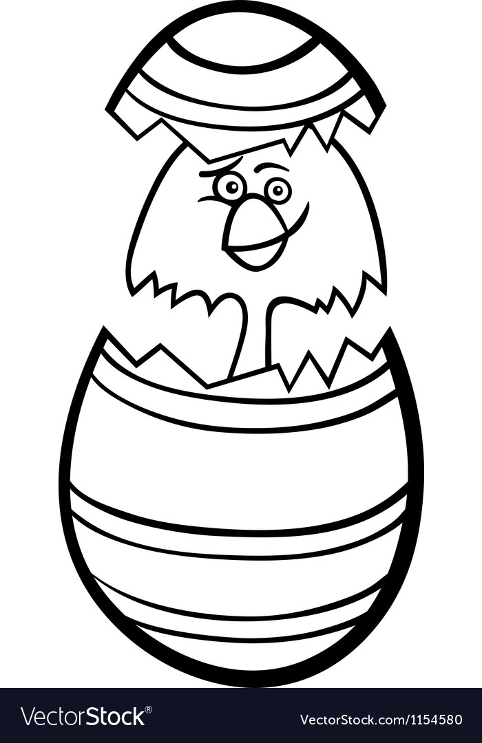 Chick in easter egg cartoon for coloring vector | Price: 1 Credit (USD $1)