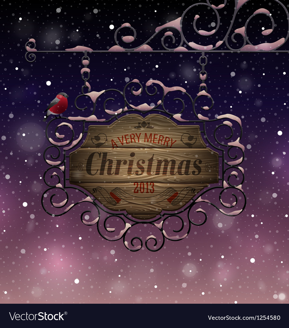 Christmas vintage greeting card vector | Price: 3 Credit (USD $3)