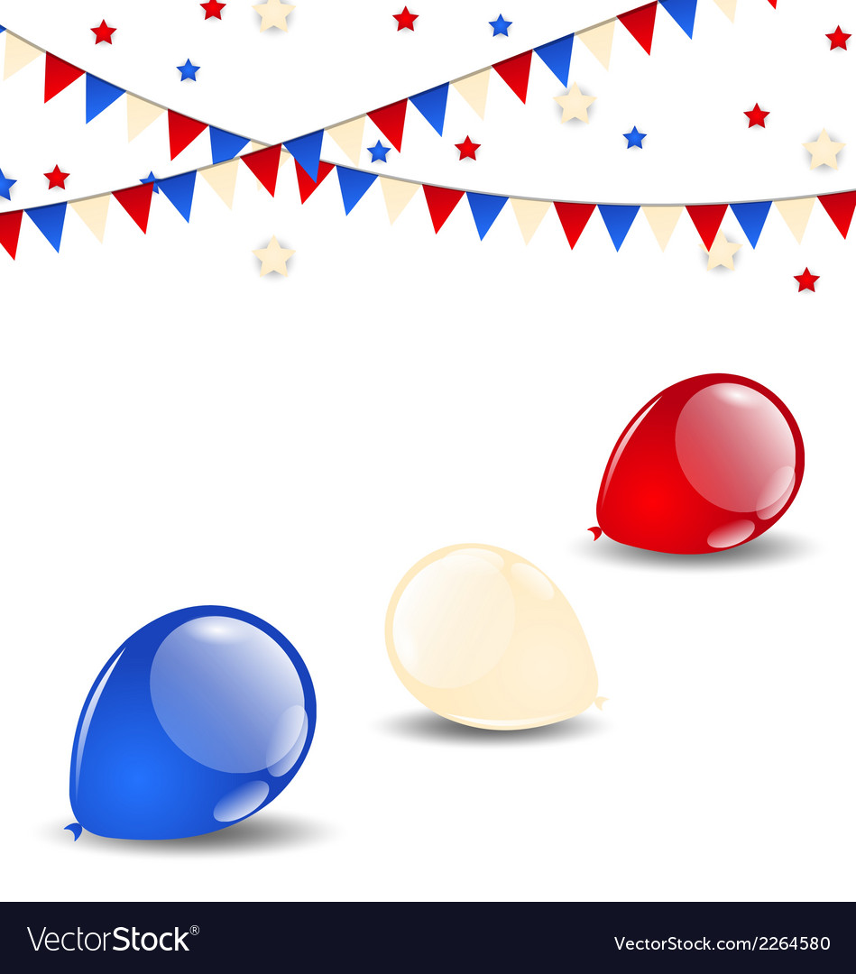 Colorful balloons in american flag colors vector | Price: 1 Credit (USD $1)