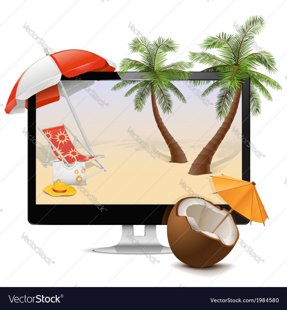 Computer with tropical resort vector | Price: 3 Credit (USD $3)