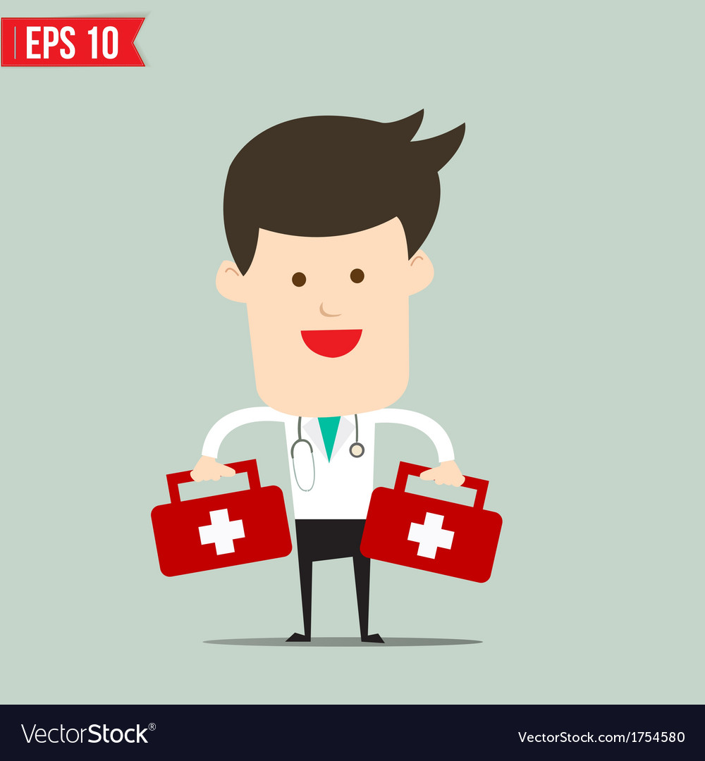 Doctor carry suitecase for emergency service - vector | Price: 1 Credit (USD $1)
