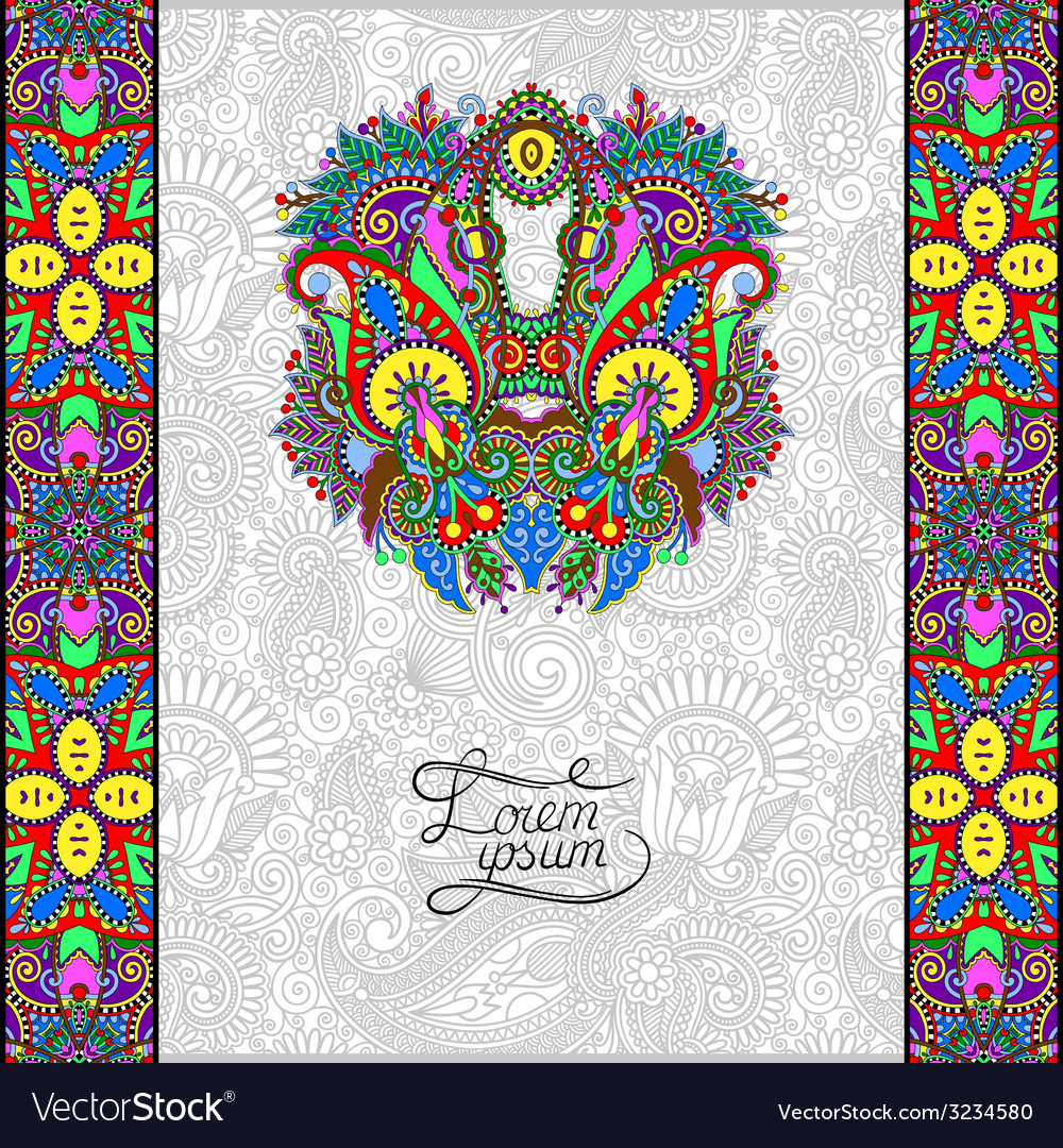 Invitation card with neat ethnic background vector | Price: 1 Credit (USD $1)