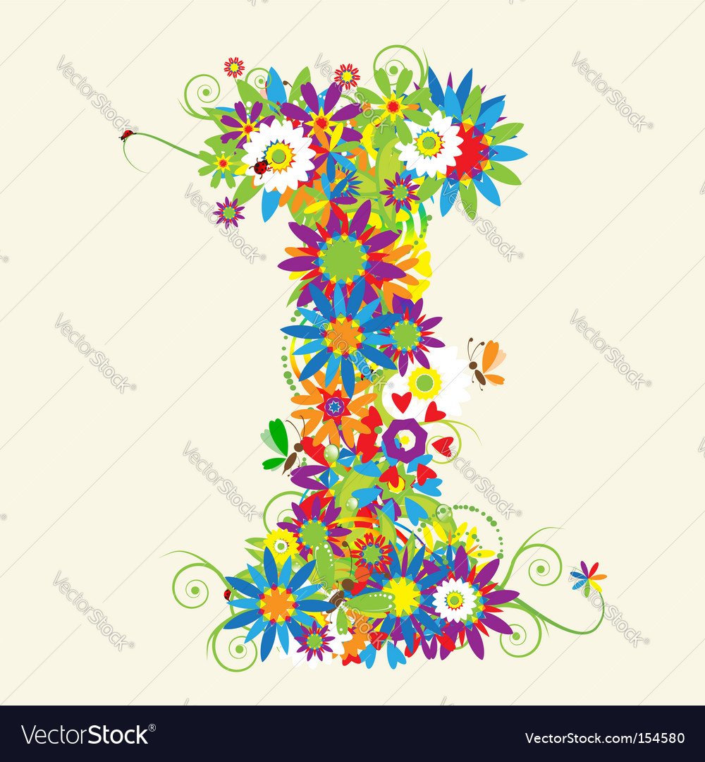 Letter i floral design vector | Price: 1 Credit (USD $1)