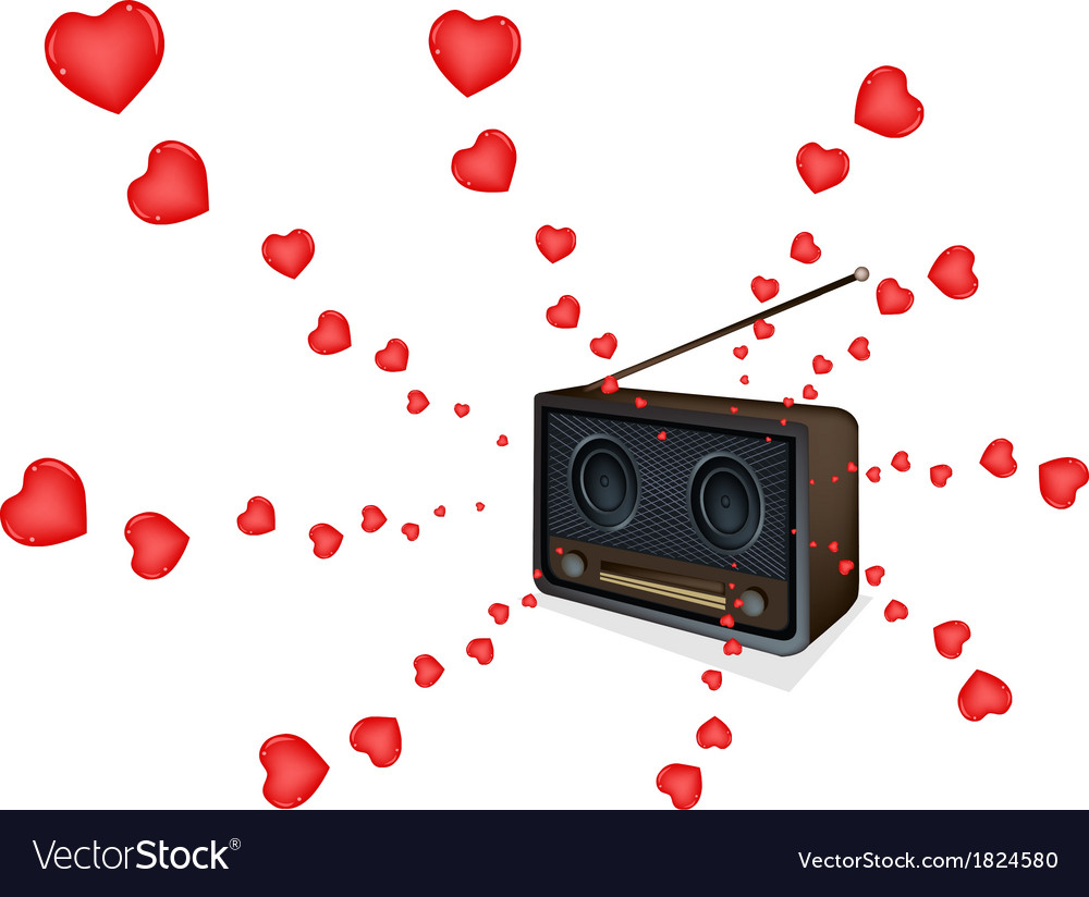 Love songs playing on a beautiful old radio vector | Price: 1 Credit (USD $1)