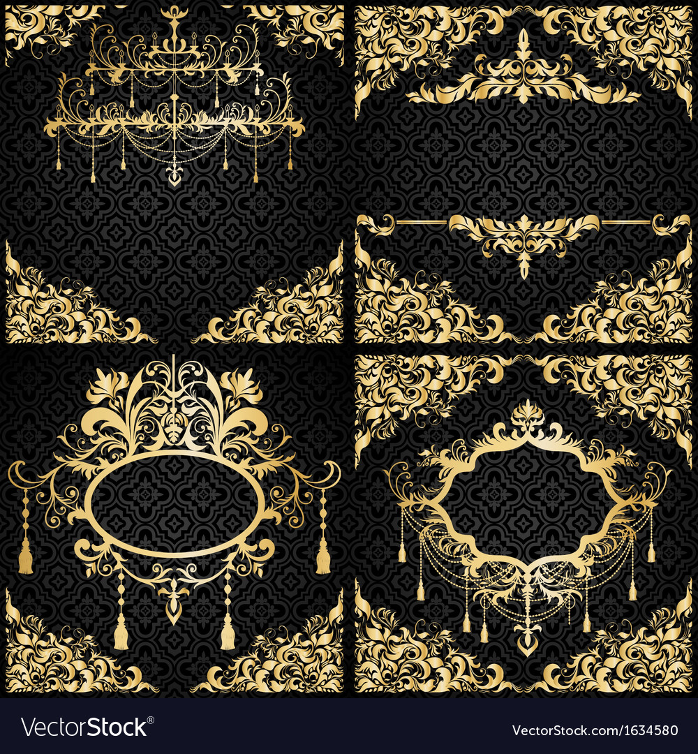Luxury invitation setin black and gold vector