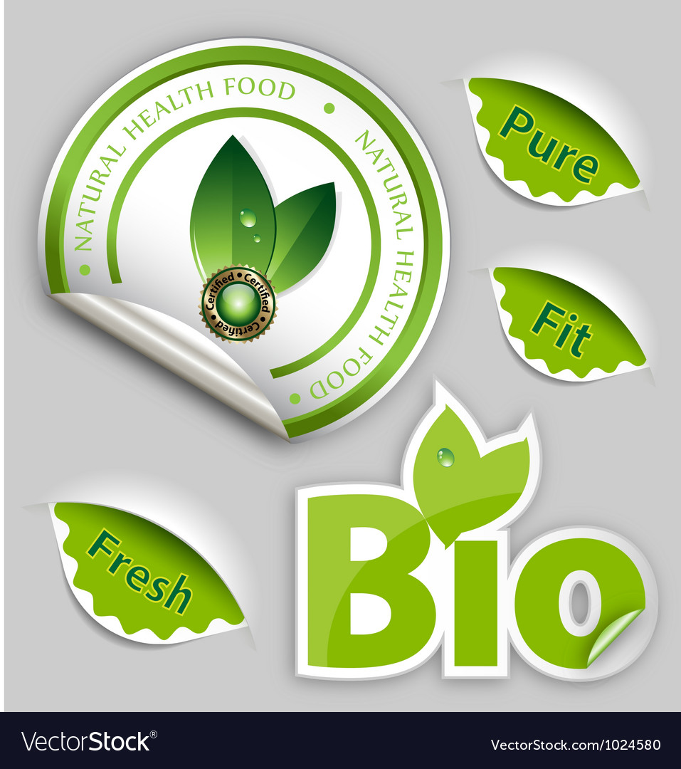 Organic food eco bio labels vector | Price: 1 Credit (USD $1)