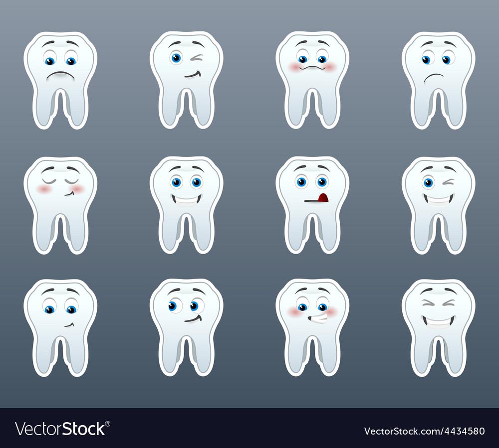 Set of cheerful teeth vector | Price: 1 Credit (USD $1)