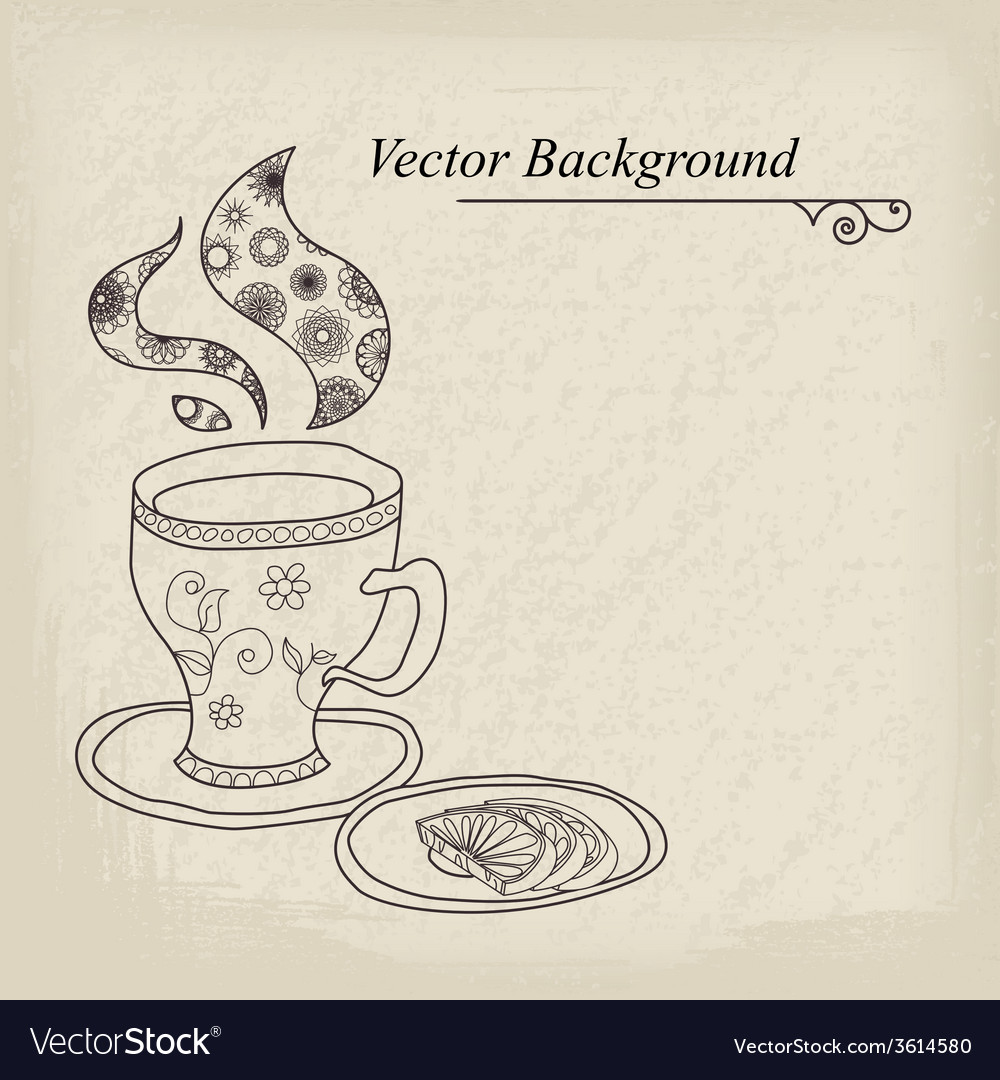 Teacup vintage background vector | Price: 1 Credit (USD $1)
