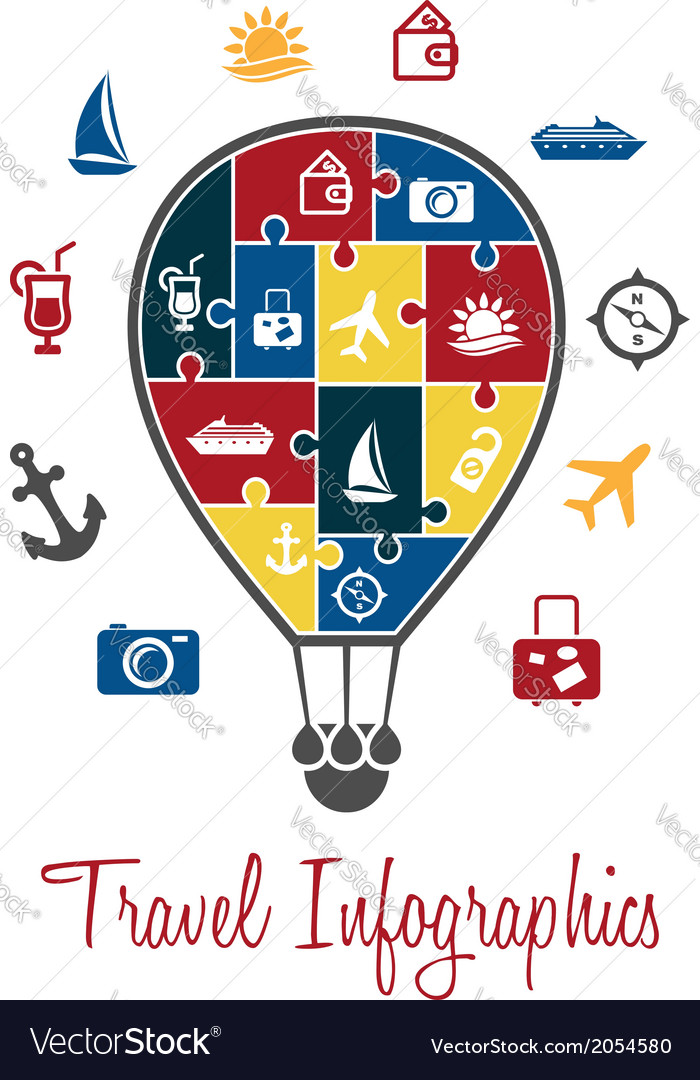 Travel infographics with a hot air balloon vector | Price: 1 Credit (USD $1)