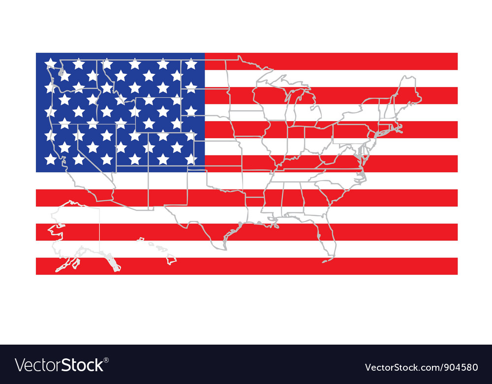 United states flag with map vector | Price: 1 Credit (USD $1)