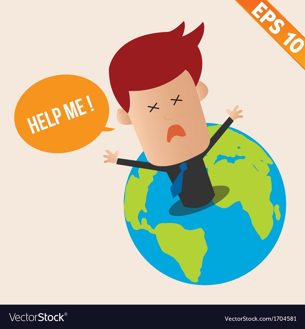 Cartoon businessman ask for help - - eps10 vector | Price: 1 Credit (USD $1)