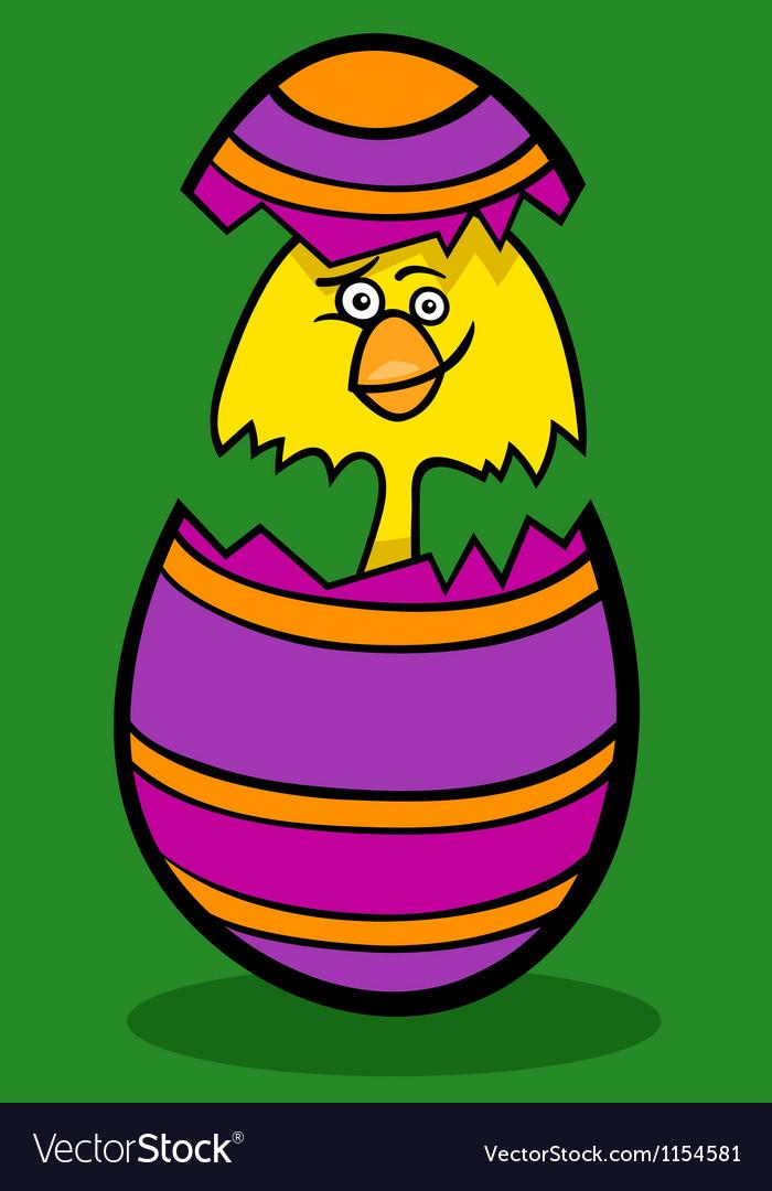Chicken in easter egg cartoon vector | Price: 1 Credit (USD $1)