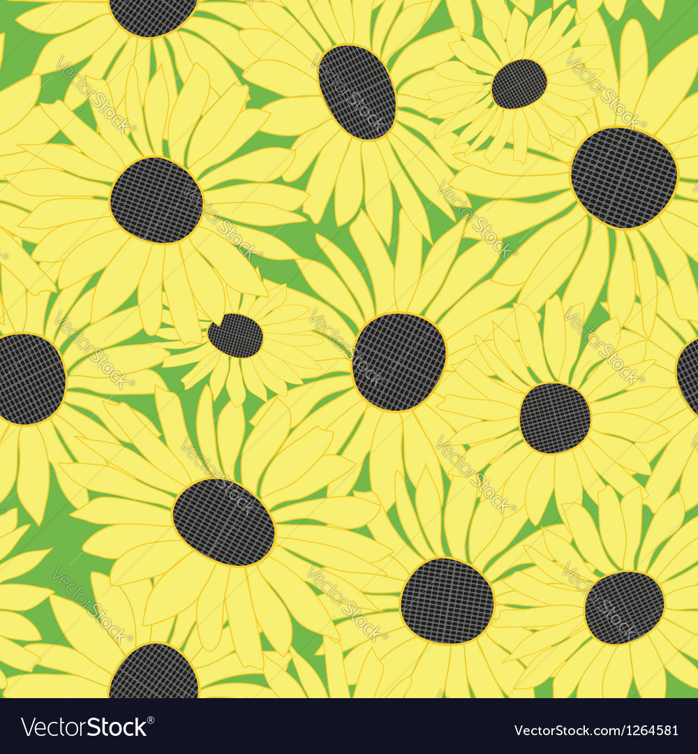 Floral pattern with yellow sunflowers vector | Price: 1 Credit (USD $1)