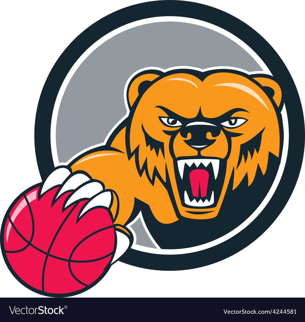 Grizzly bear angry head basketball cartoon vector | Price: 1 Credit (USD $1)