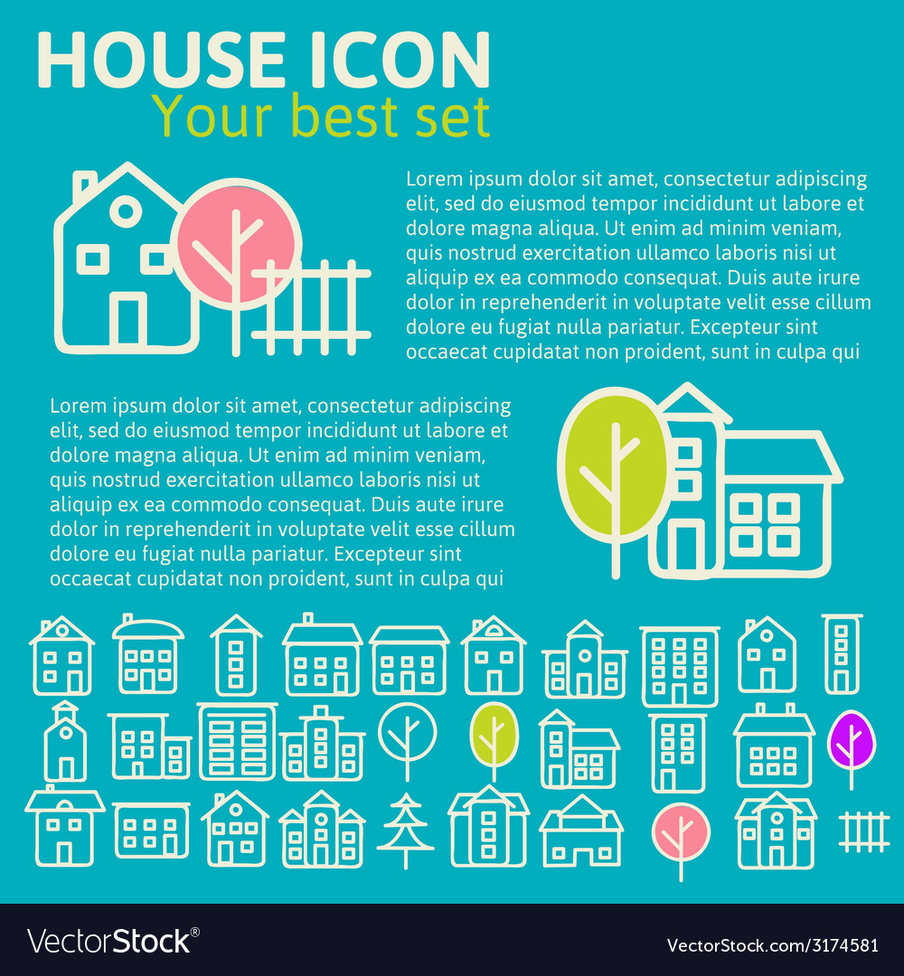 Linear set of house icons vector | Price: 1 Credit (USD $1)