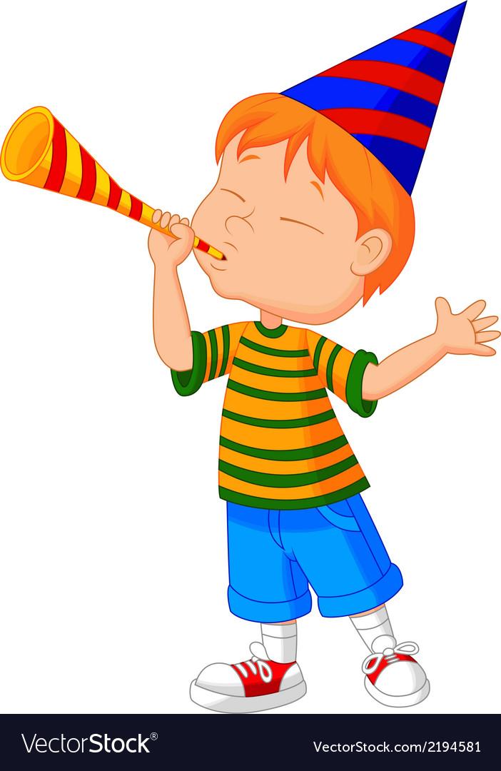 Little boy cartoon with trumpet vector | Price: 1 Credit (USD $1)