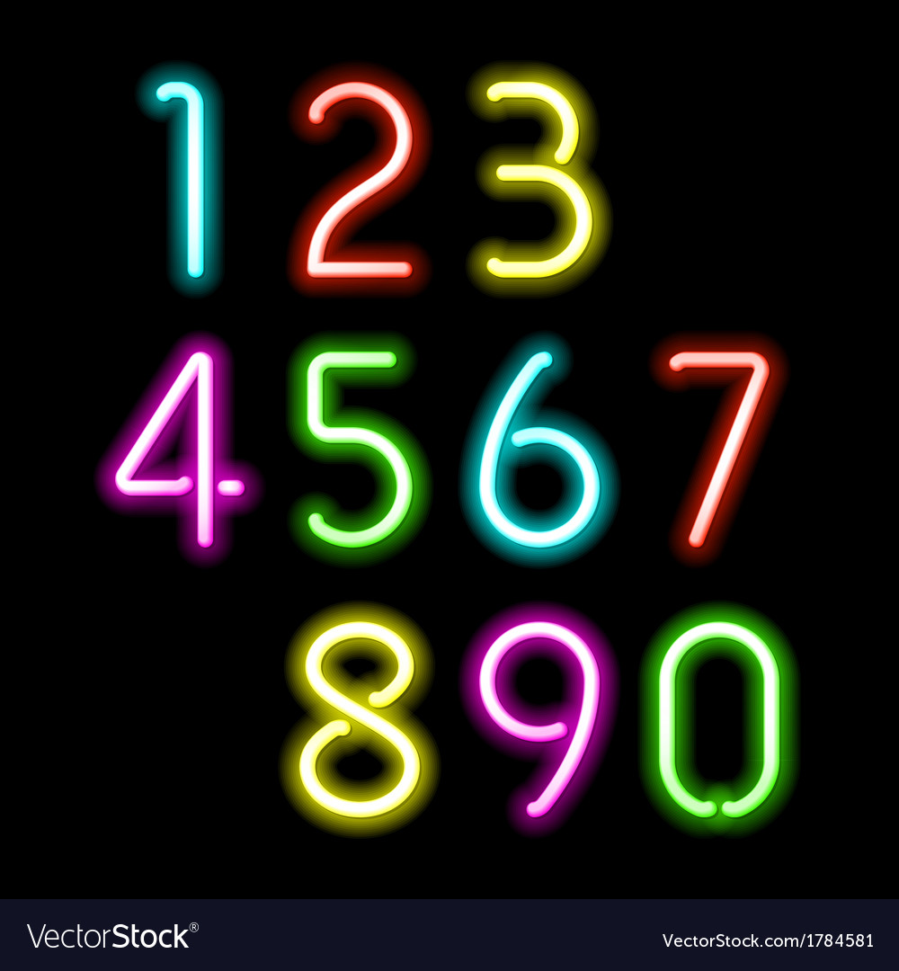 Neon numbers vector | Price: 1 Credit (USD $1)