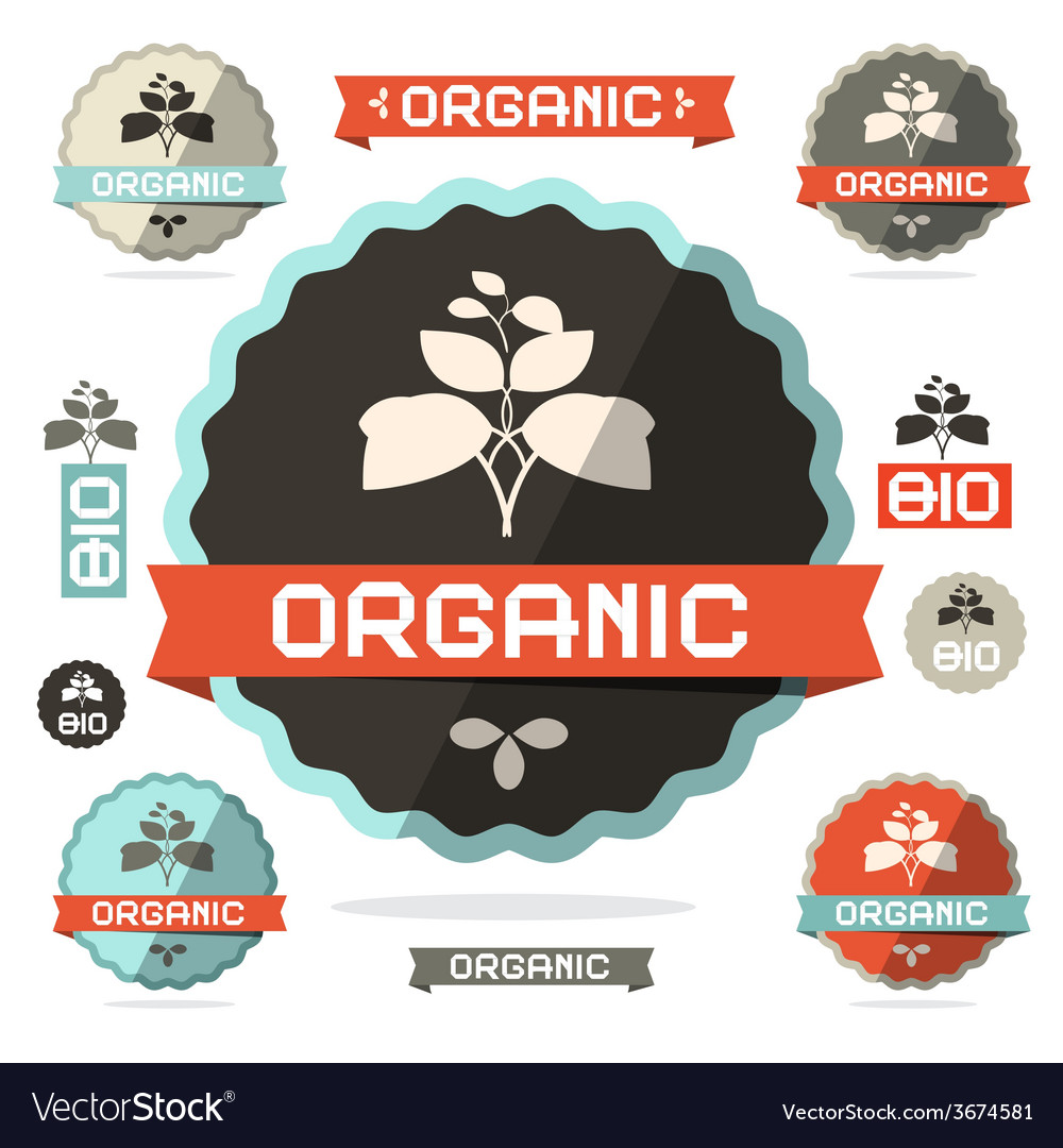 Organic flat design retro labels on white vector | Price: 1 Credit (USD $1)